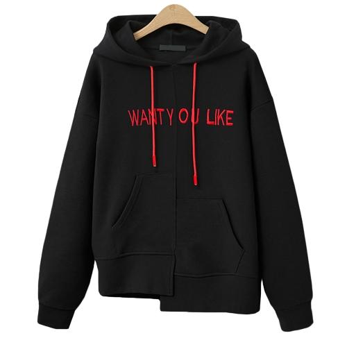 New Fashion Women Sweatshirts Hooded Long Sleeve Pullover Plus Size Loose Hoodies Tops Preto / Khaki / Branco