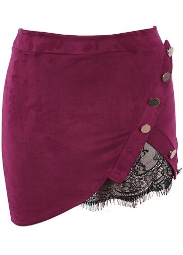 Falda de cintura alta falda de cintura alta de imitación de encaje de las mujeres de moda de la vendimia Mini falda de cuerpo preppy Bodycon