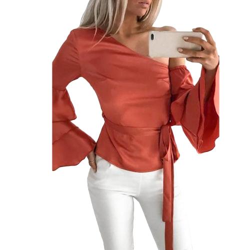 Frauen Satin Bluse Top Tie Taille Schulter Rüschen Ärmeln Elegantes Freizeithemd Rot / Beige