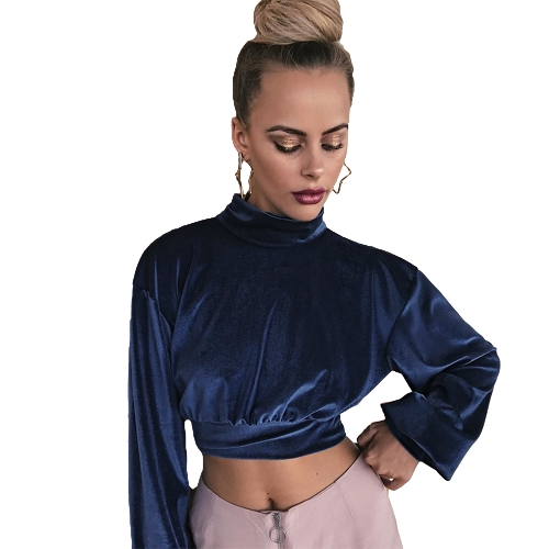 Mulheres Crop Top Velour Solid High Turtle Neck Drop Shoulder Long Sleeve Blusa Casual Partywear Azul