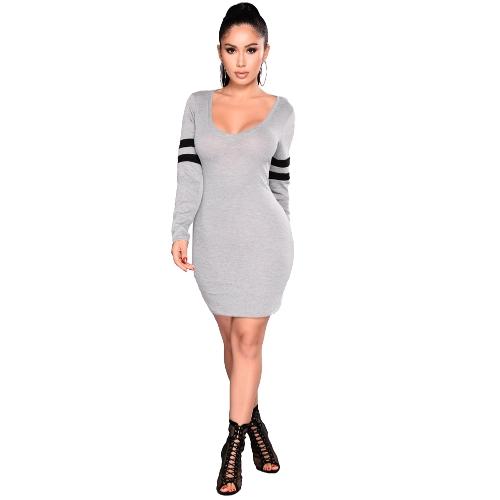 Vestido de punto con cuello en V para mujer Vestido de tubo con cuello en V manga larga Slim Mini vestido Sexy de una sola pieza gris / borgoña