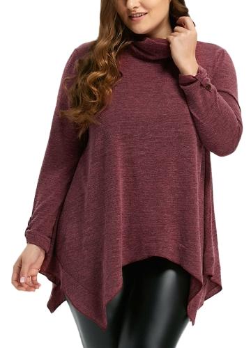 Suéter de cuello alto asimétrico de mujer jerseys de manga larga con cuello alto Suéteres sueltos Top informal