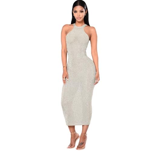 Vestido sin mangas de las mujeres atractivas del metal espumoso sin cuello ahueca hacia fuera Bodycon Nightclub vestido de una línea blanco