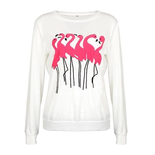Mode Frauen Stickerei Flamingo Langarm Sweatshirt O Hals Lässige Jumper Pullover Tops