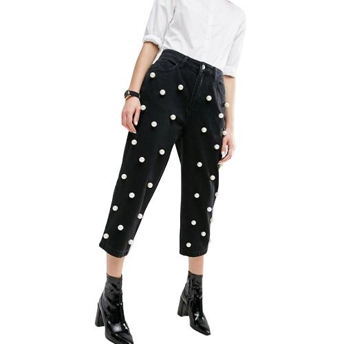 Frauen Perlen Jeans Gerade Hosen Hohe Taille Reißverschluss Fly Casual Hosen Hosen Schwarz