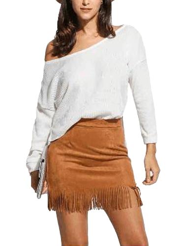 Suéter de punto flojo ocasional de las mujeres un hombro manga larga jersey sólido delgado jersey de punto