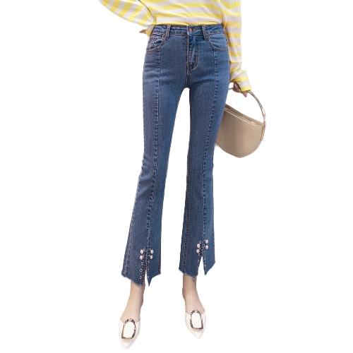 Mujeres de la moda de cintura alta Peal Flare Jeans botón cremallera dobladillo delgado pantalones de mezclilla pantalones azul