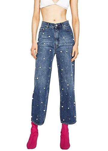 Nuevas mujeres atractivas Denim Jeans Perlas de perlas de cintura alta pantalones casuales de pierna ancha Pantalones largos azul oscuro