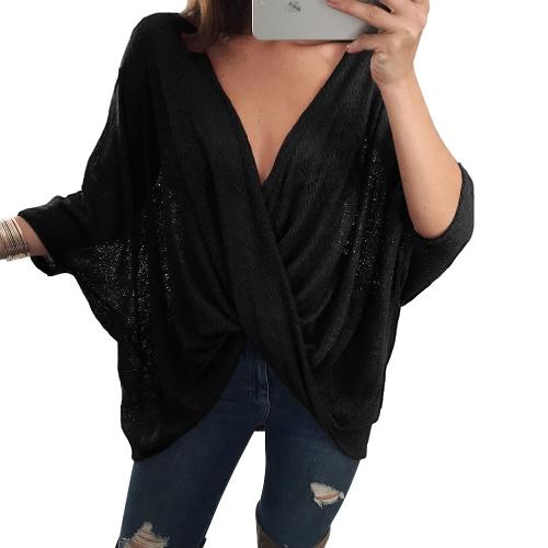Las mujeres atractivas sueltan las tapas hechas punto Cuello en V profundo sólido cruzan encima cubren la blusa irregular de Batwing de la manga irregular