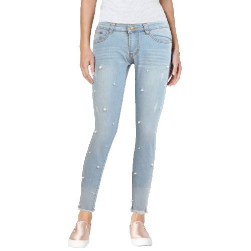 Boho Frauen Jeans Washed Denim Sicke Faux Perle Quaste Ausgefranste Reißverschluss Mittlere Taille Skinny Casual Bleistift Hosen Hellblau