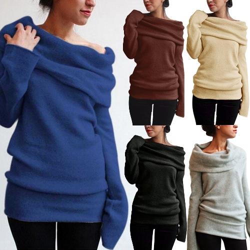 Мода женщин от плеча свитер шерсти Cowl шеи с длинным рукавом сплошной трикотажные перемычки Jumper фото