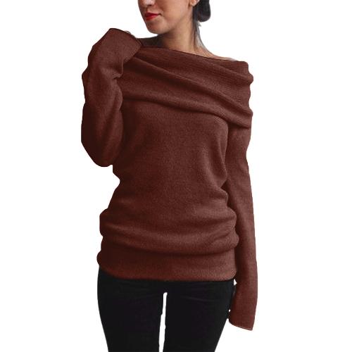 Las mujeres de moda fuera del hombro del suéter de lana de cuello capucha de manga larga de punto sólido jersey jersey sudadera