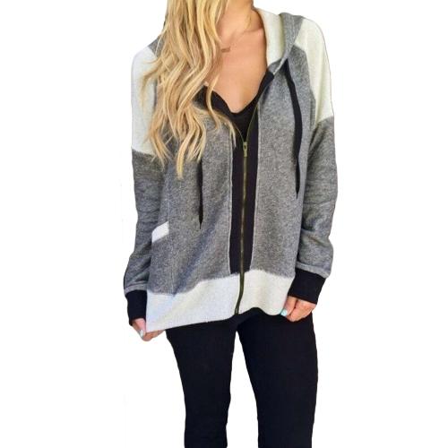 Frauen Hoodie Sweatshirt Trainingsanzug Mantel Kordelzug Taschen Zip Up Oberbekleidung Lässige Kapuzenjacke Grau