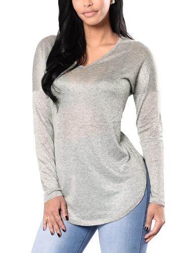 Blusa de punto de las mujeres ocasionales con cuello en V de manga larga sólido dividir prendas de punto delgado camiseta Tops borgoña / negro / gris