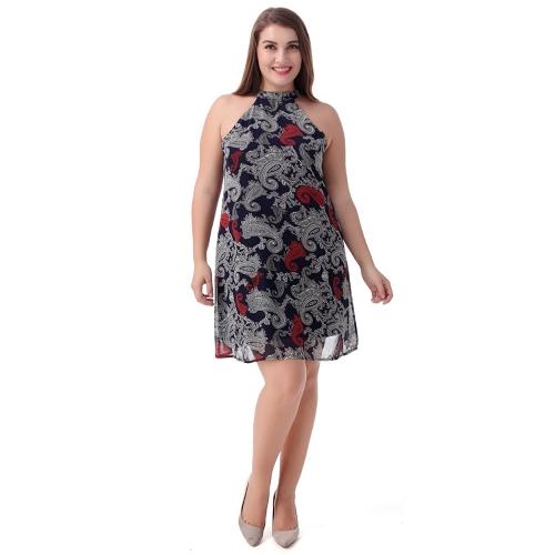 Damska koszulka w rozmiarze plus size Szyfonowa sukienka w stylu vintage Paisley Print Halter drapowana w suwak z powrotem Sukienka Vestidos