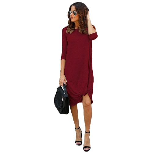 Kobiety 3/4 rękawy Casual Dress Ruched Hem O Neck Miękka asymetryczna koszulka w kształcie litery Shift