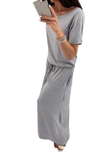 Neue Frauen Maxi Langes Kleid O-Neck Kurzen Ärmeln Gürtel Elastische Taille Casual Party Kleider Grau