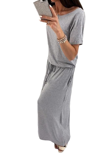 Novas mulheres Maxi vestido longo O-Neck mangas curtas cinto cintura elástica vestidos de festa casual cinza