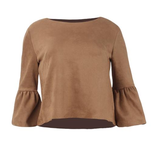 Damen Wildleder Top Shirt Flare Ärmeln Rundhalsausschnitt Elegant Casual Pullover Top Bluse Braun