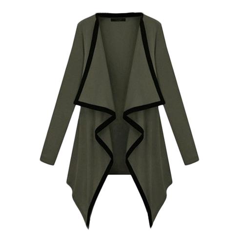 Cárdigan de manga larga con cuello en contraste de manga larga para mujer abierta Capa asimétrica de capa casual Poncho Outwear
