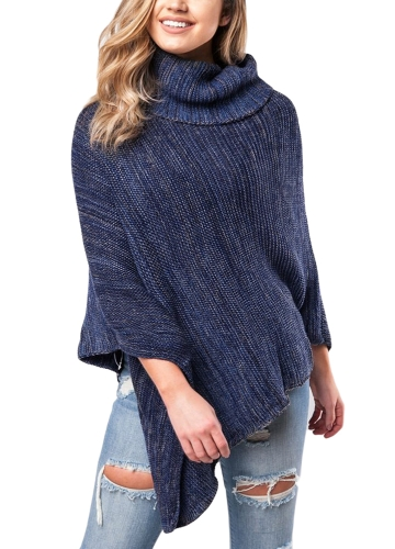 New Sexy Women Knitted Poncho Cape Turtleneck Camisola de malha Shawl Irregular Pullover Jumper Café / Azul