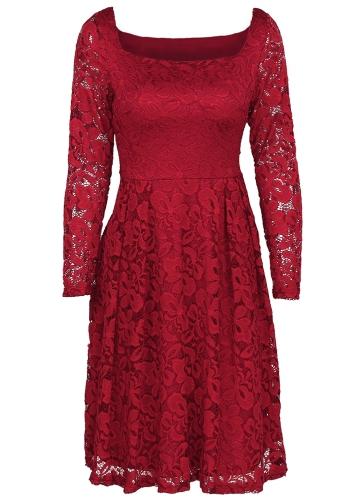 Frauen-Blumenspitze-Kleid-lange Hülsen-Schrägstrich-Hals A-Line Seitlicher Reißverschluss plus Größen-Abend-Hochzeitsfest-Kleid
