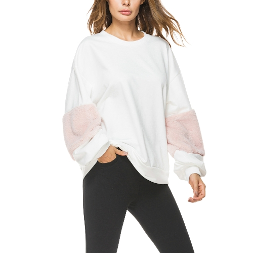 Mulheres Loose Sweatershirt Pullovers Lantern mangas compridas Fur Dropped Shoulder Jumpers Hoodies Casual Tops Outwear