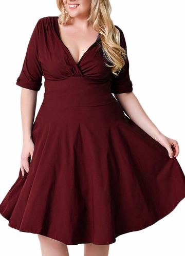 Sexy Women Plus Size Dress V Neck Half Sleeve Solid Slim Ruched Elegant Party Swing Skater Dress Large Size Burgundy / Black / Dark Blue