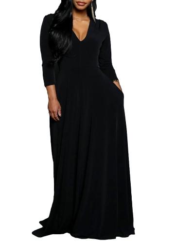 Nowa damska sukienka maxi V szyi trzy czwarte rękawem Solidna Ruched Slim Elegancka długa sukienka Army Green / Black / Red