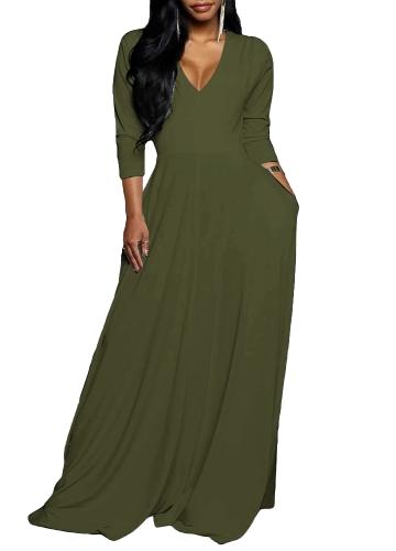 Vestido Maxi de las nuevas mujeres con cuello en V manga tres cuartos Vestido largo elegante delgado con pliegues sólido Verde / Negro / Rojo