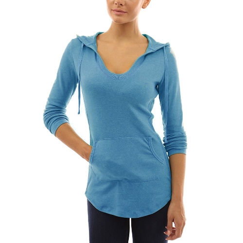 Nueva moda otoño mujer con capucha camiseta con cordón delantero bolsillo manga larga camisetas pullover top