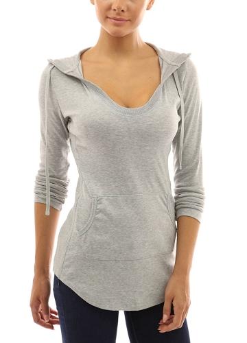 Новая мода Осень женщин с капюшоном Футболка Drawstring Передняя карманные длинными рукавами Тис Пуловер Top фото