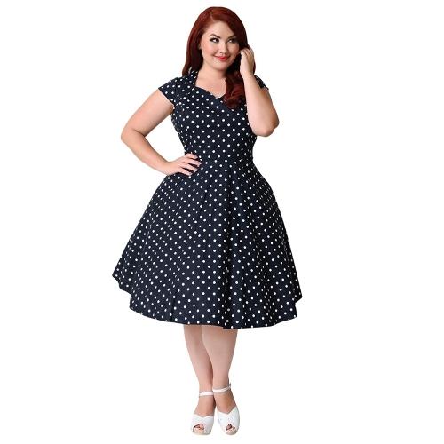 Vestido estilo lunares retro talla grande de los años 50 60s Vestido oscilante Rockabilly Vestido midi a media pierna negro / azul oscuro
