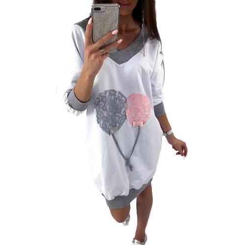 Las mujeres de la manera más el tamaño V cuello largo superior Mini vestido de empalme de encaje ajuste de contraste informal vestido de puente suelto
