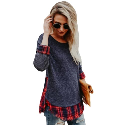 Frauen Plaid Shirt Langarm T-Shirt Raw Hem O-Ausschnitt Pullover Casual Bluse Top Schwarz / Grau