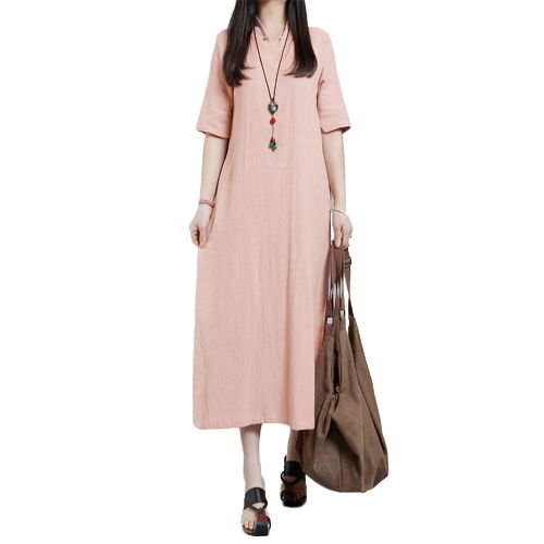 Moda Mulheres Plus Size Maxi Dress V Neck Keyhole Button Half Sleeve Side Slit Loose Solid Dress