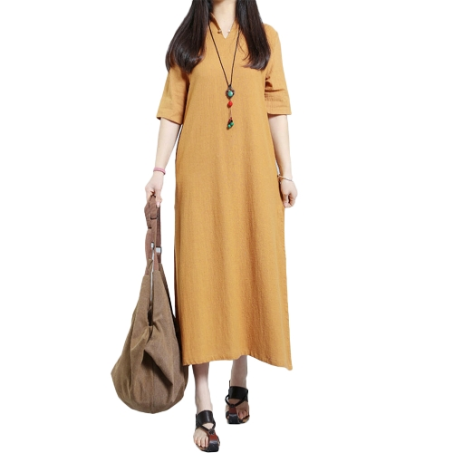 Mujeres de la moda más el tamaño del vestido maxi cuello en V ojo de la cerradura de la manga mitad de la manga del vestido sólido suelto
