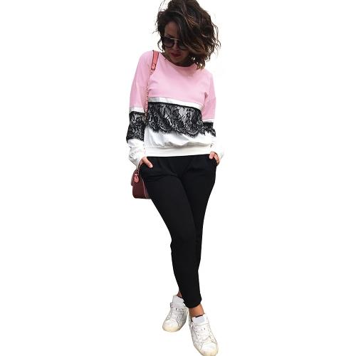 Frauen lose Häkelspitze Bluse Langarm Shirt Casual Tops T-Shirt Splice Sweatshirt Plus Size Pullover schwarz / Pink / gelb