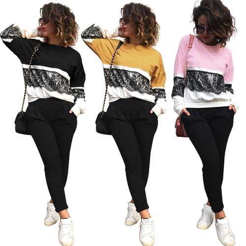 Женщин Loose вязания крючком кружевной блузки с длинным рукавом рубашки повседневные топы Футболка Splice Толстовка Плюс Размер Пуловер черный / розовый / желтый