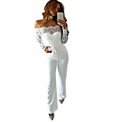 New Sexy Women Off the Shoulder Scalloped Lace Jumpsuit Backless Zipper Back Long Sleeves Clubwear Party Romper Playsuit with Belt White