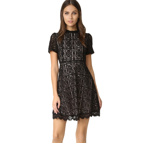 New Women Sexy Lace Dress See Through Slim Elegant Evening Party Tunic Casual Mini A-Line Vestido Preto / Borgonha