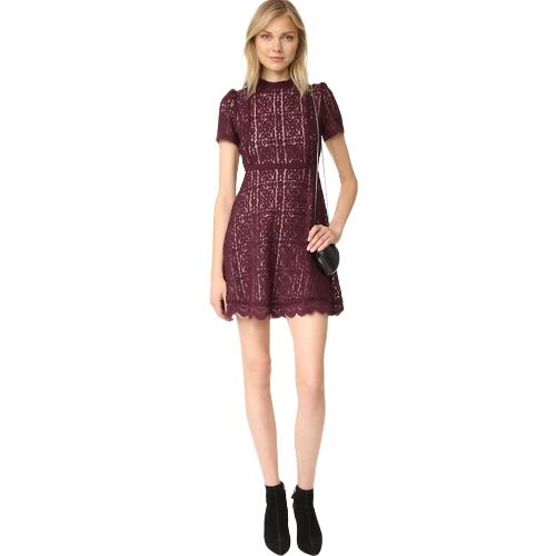 Nuevo vestido de encaje sexy para mujer See Through delgado elegante fiesta de noche túnica casual Mini vestido de línea negro / borgoña