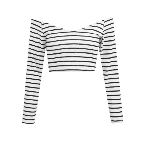 New Sexy Women Off Shoulder Long Sleeve Striped Crop Top Wide V Neck Slim Cotton Slim Tops Tee Branco