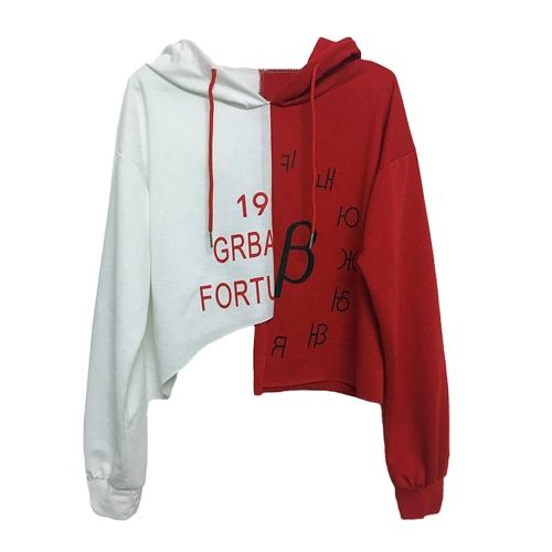 Moda Mulheres Crop Hoodie Moletons Letter Print Cor do contraste Asymmetric Casual Loose Pullover Hooded Tops Vermelho