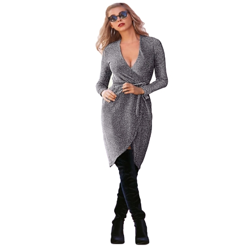 Herbst Winter Frauen Metallic Kleid tiefem V-Ausschnitt Kreuz Belted Long Sleeve Party Dress Silber