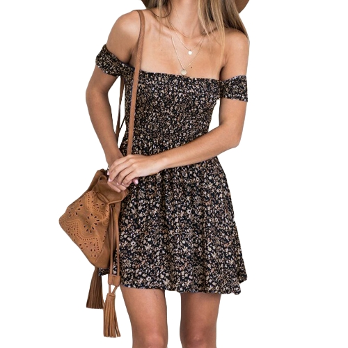 Sexy Vintage Women Dress Off the Shoulder Floral Print Manga Curta Elastic Band Party Casual Mini Sundress