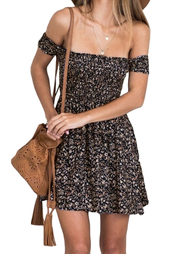 Sexy Vintage Women Dress Off the Shoulder Floral Print Short Sleeves Elastic Band Party Casual Mini Sundress
