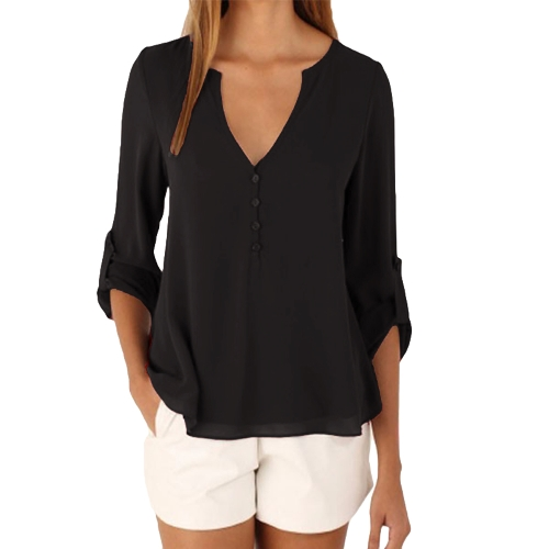 Neue Mode Frauen Beiläufige Chiffon-Bluse V-Ausschnitt Langarmknopf Asymmetrische Solide Dünnes Hemd Tops