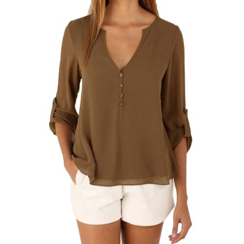 Las nuevas mujeres de la manera Blusa de gasa ocasional con cuello en V de manga larga botón asimétrico sólido Slim Tops de la camisa