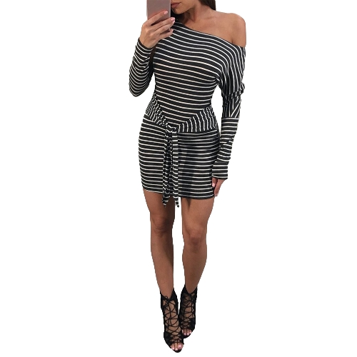 Sexy Frauen Striped Minikleid One-Shoulder-Taillengurt Knot Langarm Slim-figurbetontes Kleid